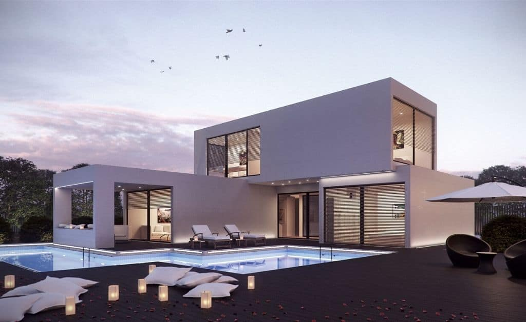 villa with a pool visual created with 3ds max software design program