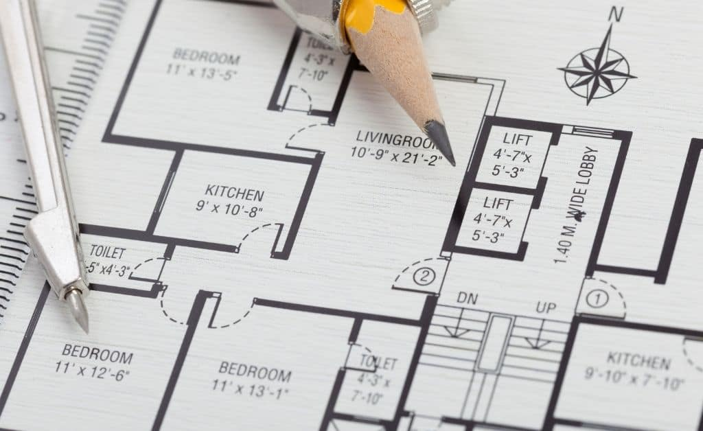 2d cad plan on the paper