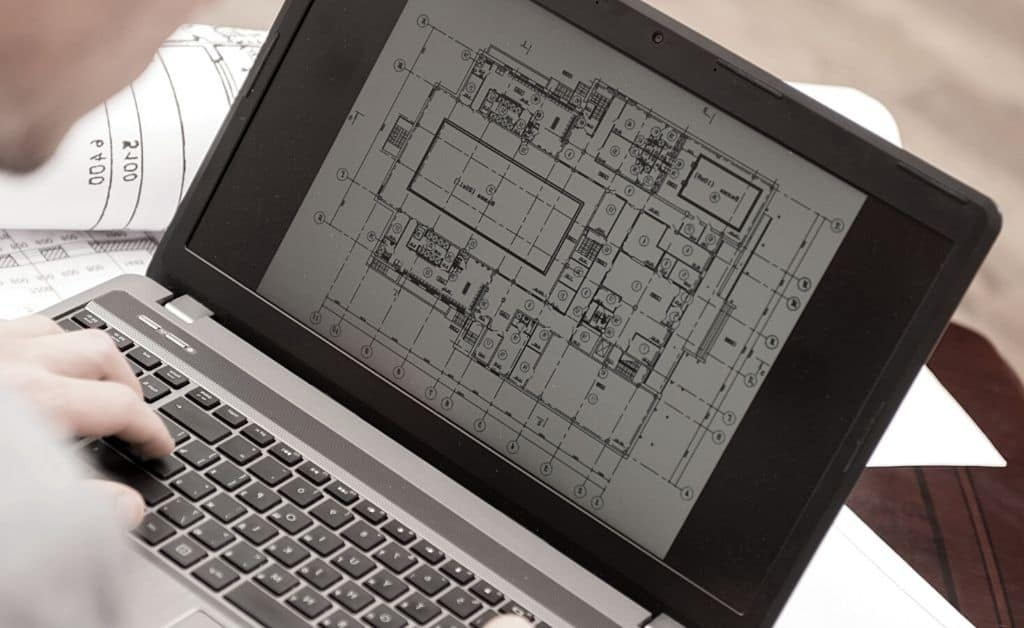cad plan in the laptop
