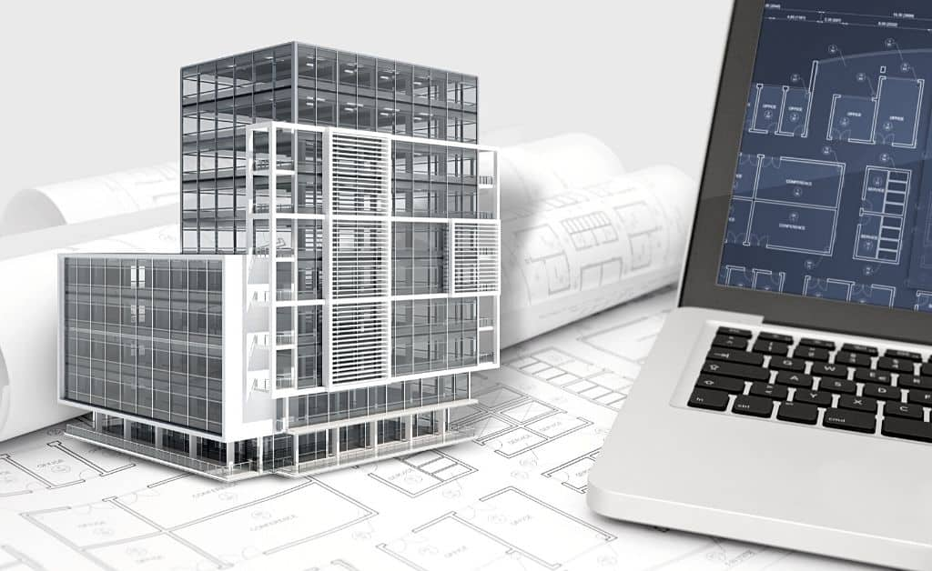 3d model with revit plan on the pc screen