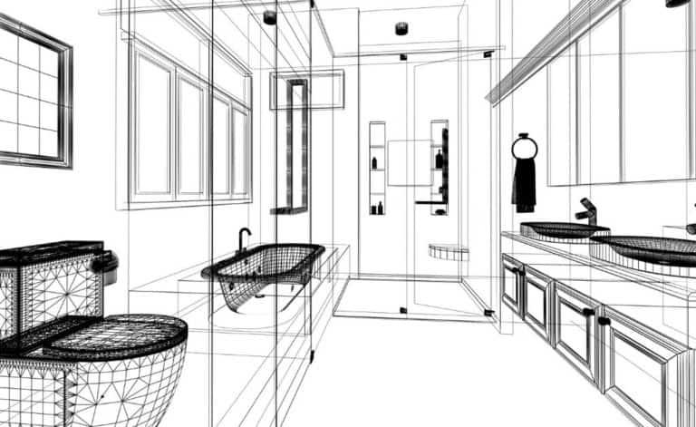 perspective sketch for bathroom